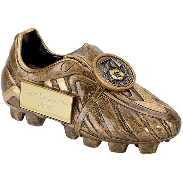 "Resin Antique Gold Premier Football Boot 18cm (7"")"