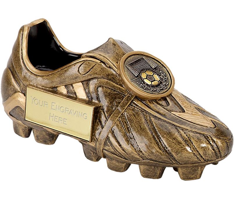 "Resin Antique Gold Premier Football Boot 18cm (7"")"