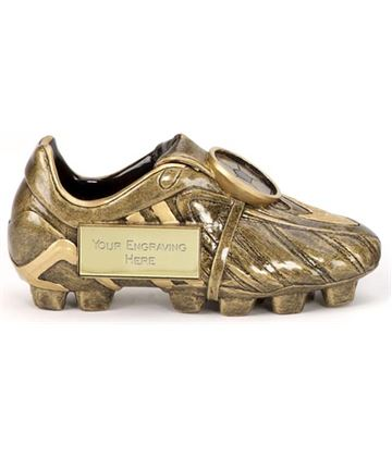 "Resin Antique Gold Premier Football Boot 12.5cm (5"")"