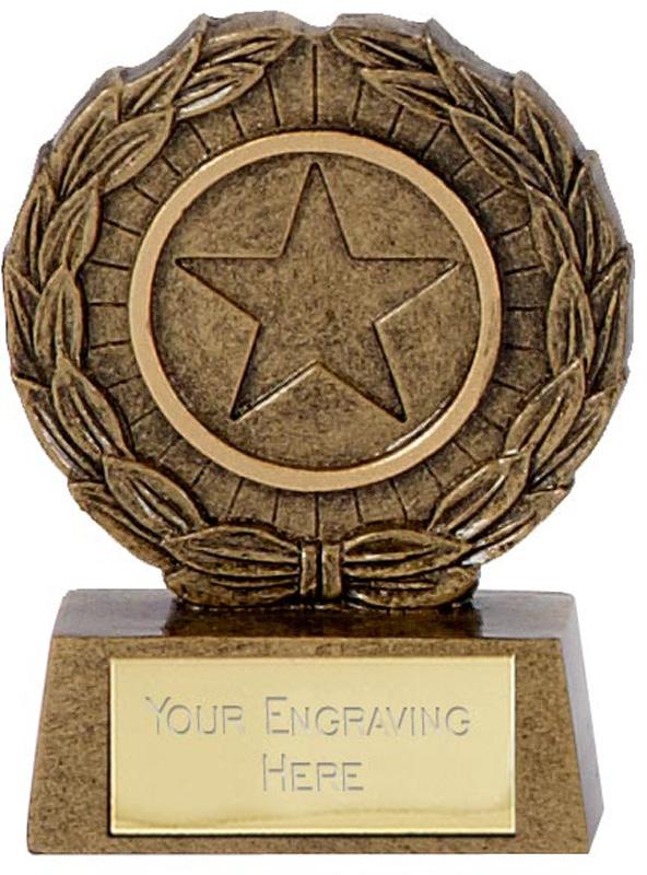 "Resin Mini Star Laurel Wreath Trophy 6.5cm (2.5"")"