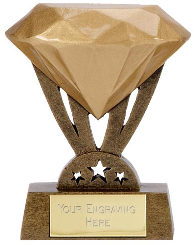 "Resin Mini Gold Diamond Trophy 8.5cm (3.25"")"