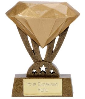 "Resin Mini Gold Diamond Trophy 8.5cm (3.25"")"