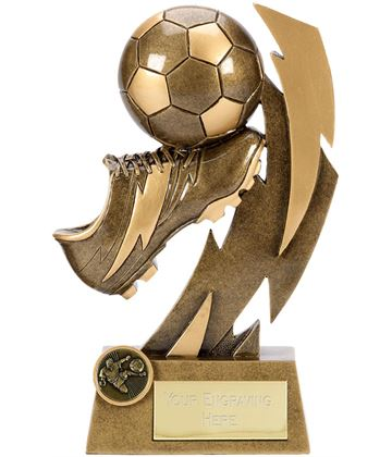 "Gold Flash Ball & Boot Football Trophy 14.5cm (5.75"")"