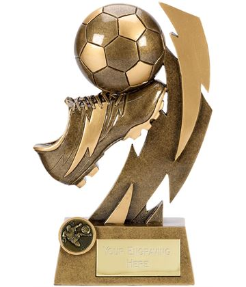 "Gold Flash Ball & Boot Football Trophy 11.5cm (4.5"")"
