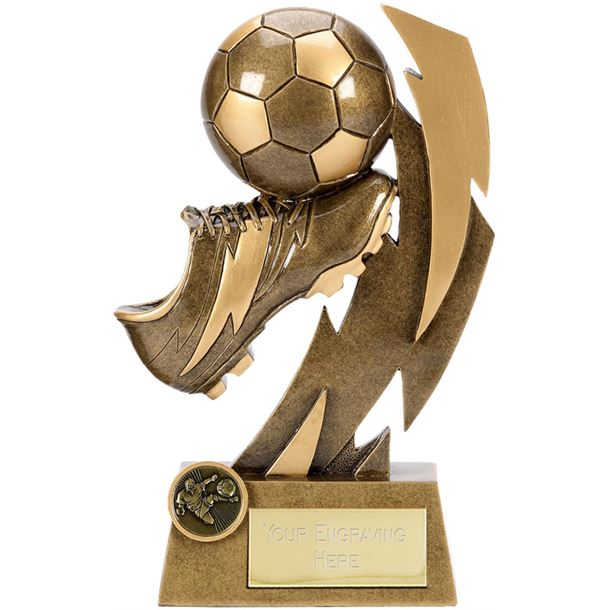 "Gold Flash Ball & Boot Football Trophy 17cm (6.75"")"