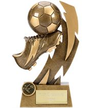 "Gold Flash Ball & Boot Football Trophy 19.5cm (7.75"")"