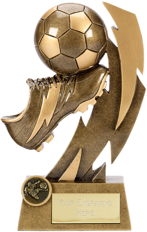 "Gold Flash Ball & Boot Football Trophy 19.5cm (7.75"")"