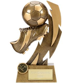 "Gold Flash Ball & Boot Football Trophy 22cm (8.75"")"