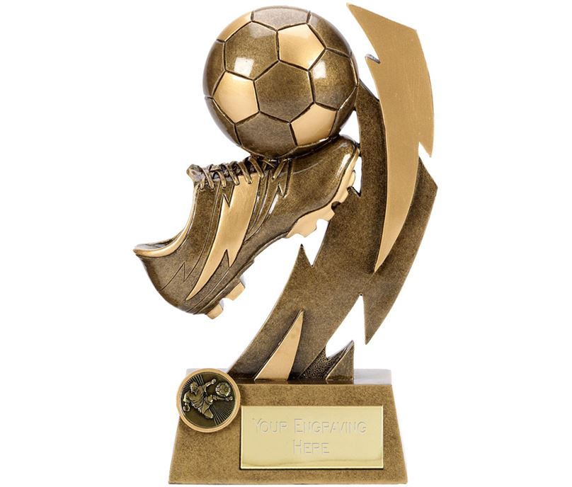"Gold Flash Ball & Boot Football Trophy 22cm (8.75"")"