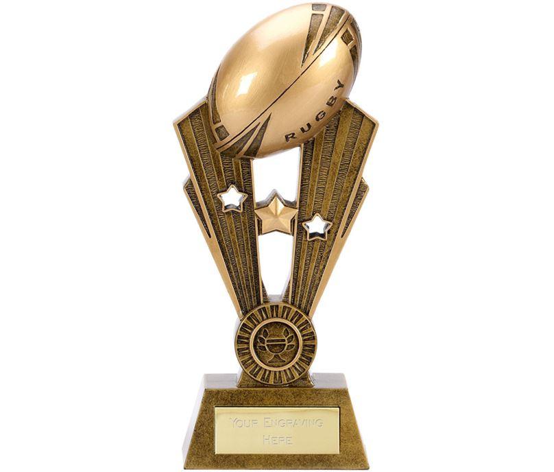 """Resin Antique Gold Fame Rugby Trophy 24cm (9.5"""")"""