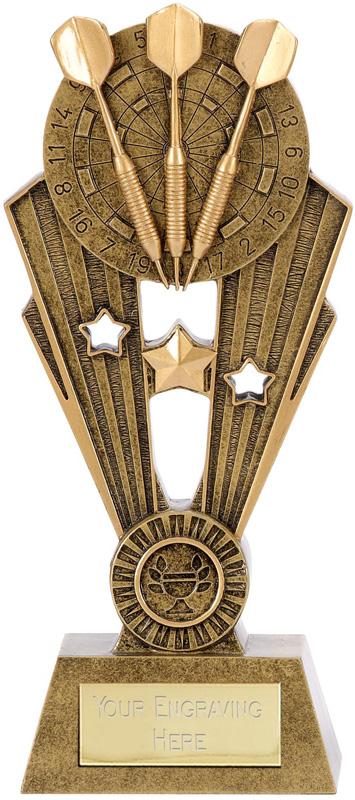 """Antique Gold Fame Darts Trophy 19cm (7.5"""")"""
