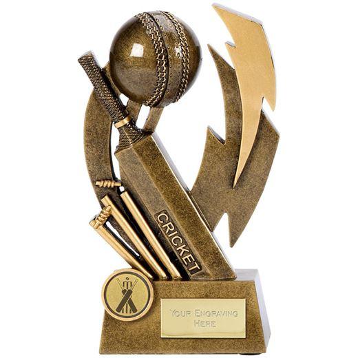"Antique Gold Flash Resin Cricket Trophy 14.5cm (5.75"")"