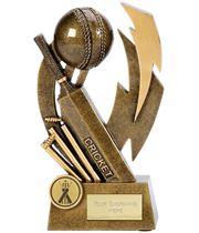 "Antique Gold Flash Resin Cricket Trophy 17cm (6.75"")"