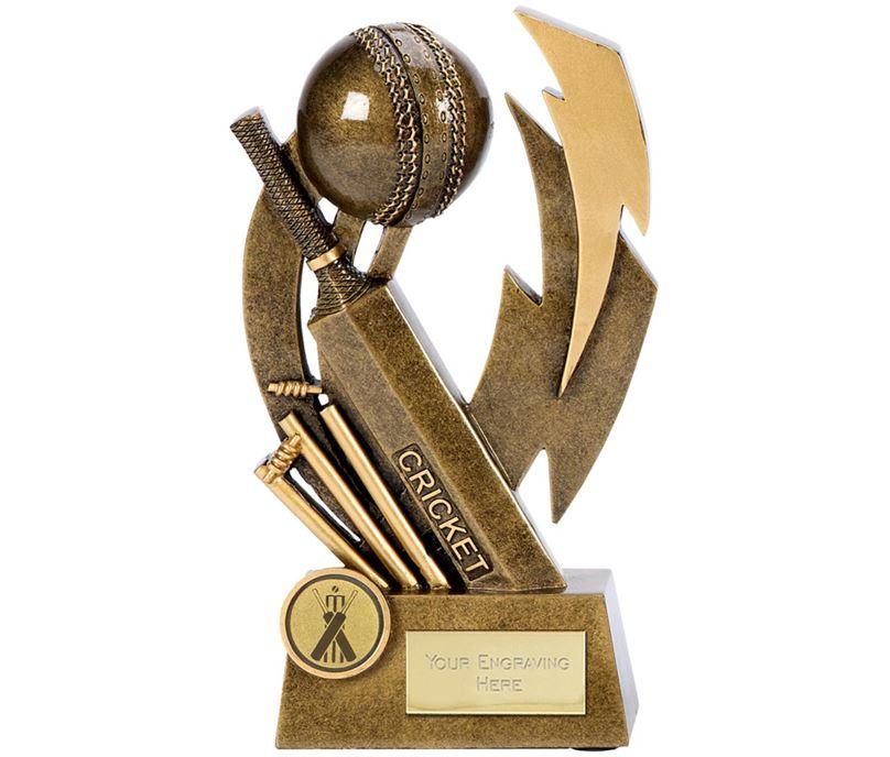 "Antique Gold Flash Resin Cricket Trophy 19.5cm (7.75"")"