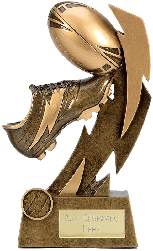 """Gold Flash Ball & Boot Rugby Trophy 17cm (6.75"""")"""