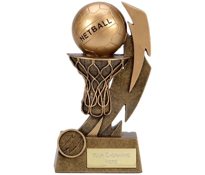 """Gold Flash Net & Ball Netball Trophy 15cm (6"""")"""