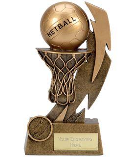 """Gold Flash Net & Ball Netball Trophy 11.5cm (4.5"""")"""
