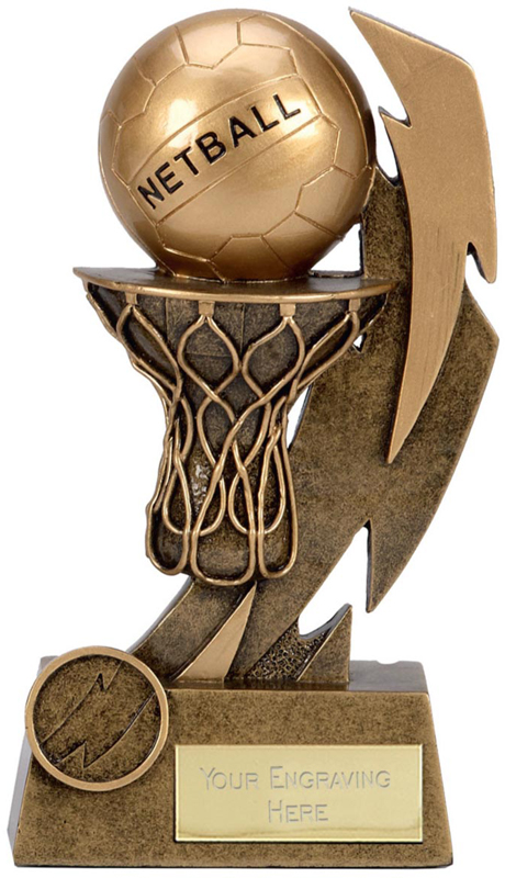 "Gold Flash Net & Ball Netball Trophy 11.5cm (4.5"")"