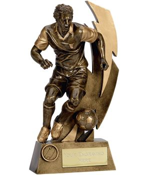 """Gold Flash Action Footballer Trophy 22cm (8.75"""")"""