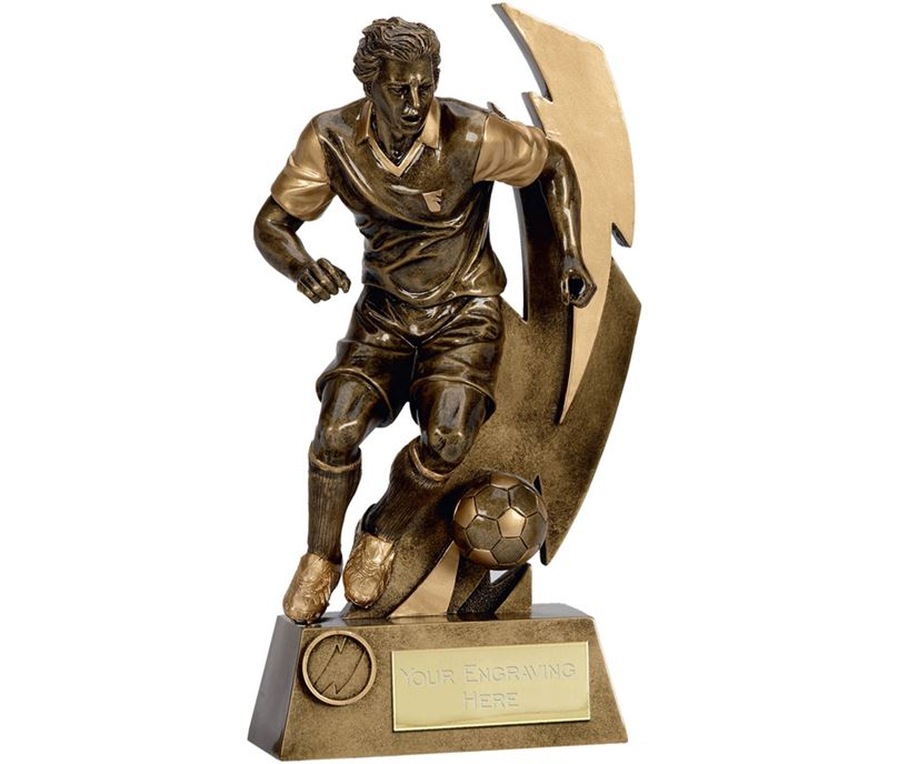 "Gold Flash Action Footballer Trophy 22cm (8.75"")"