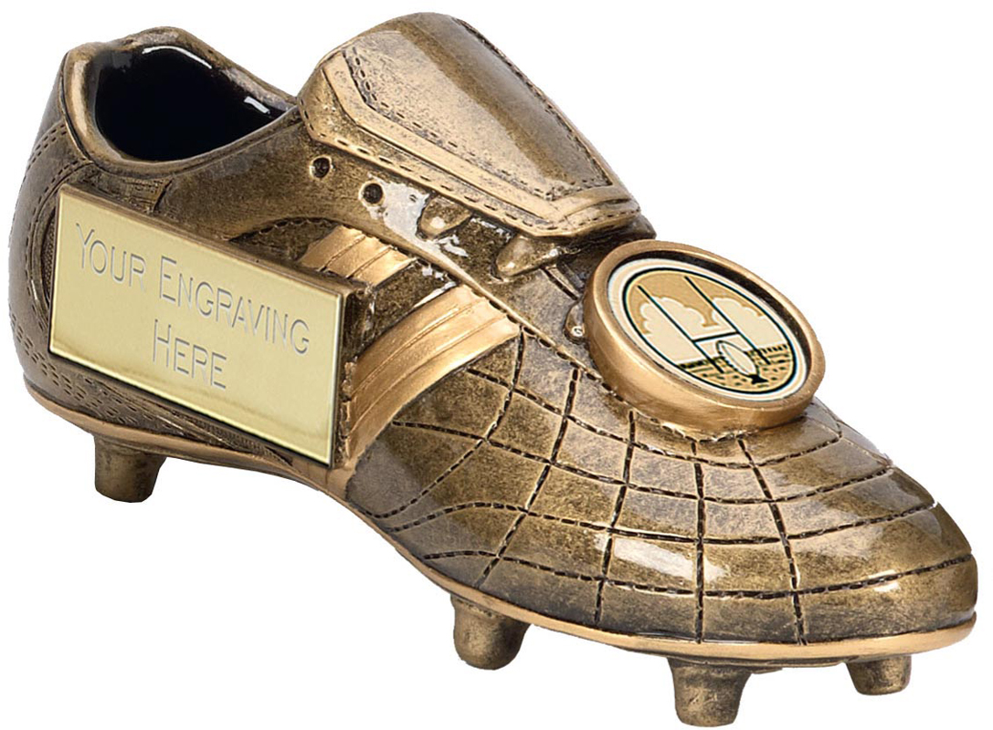 "Gold Rugby Boot Trophy with Centre Disc 12.5cm (5"")"