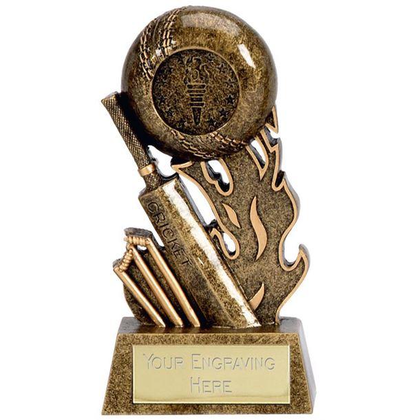 """Resin Cricket Bat & Stumps Scorcher Trophy 9.5cm (3.75"""")"""
