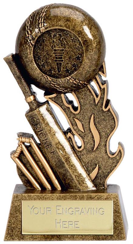 """Resin Cricket Bat & Stumps Scorcher Trophy 12cm (4.75"""")"""