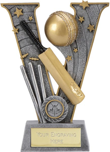 "Silver Resin Victory Cricket Bat & Ball Trophy 18.5cm (7.25"")"