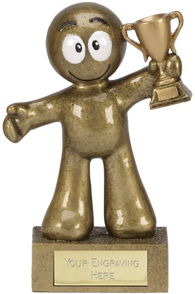 "Antique Gold Resin Cartoon Man Cup Trophy 12cm (4.75"")"