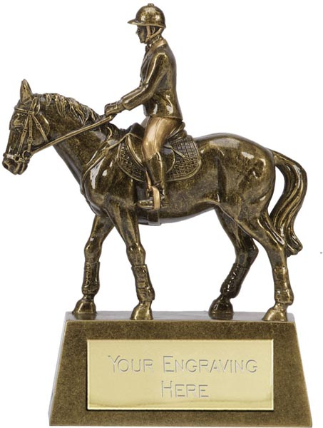 "Antique Gold Resin Horse & Rider Trophy 12.5cm (5"")"