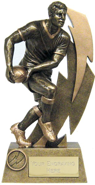 """Antique Gold Resin Flash Rugby Player Trophy 14.5cm (5.75"""")"""