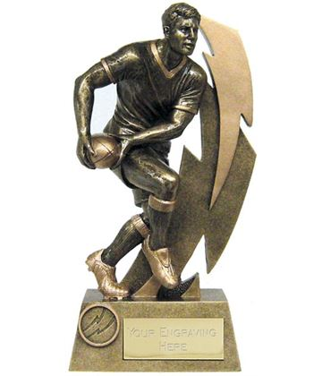 """Antique Gold Resin Flash Rugby Player Trophy 19.5cm (7.75"""")"""