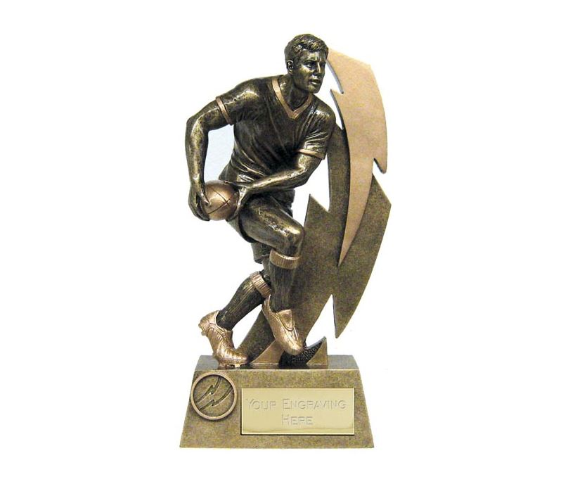 "Antique Gold Resin Flash Rugby Player Trophy 19.5cm (7.75"")"