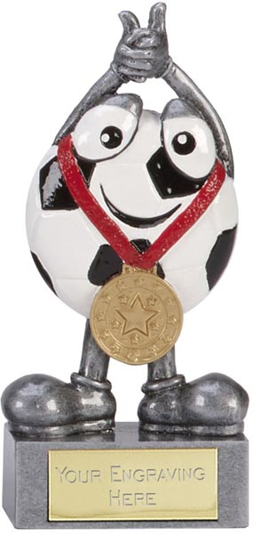 "Celebrating Happy Face Football Trophy 10cm (4"")"