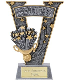 """Silver Resin Victory Coach Football Trophy 18.5cm (7.25"""")"""