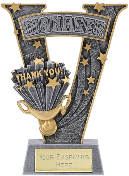 """Silver Resin Victory Manager Football Trophy 18.5cm (7.25"""")"""