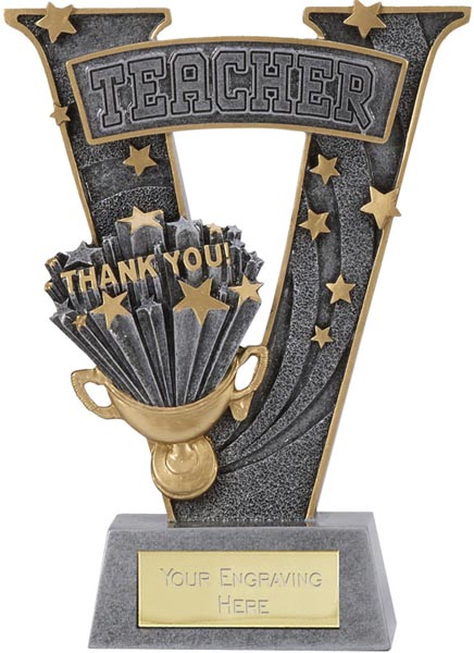"""Antique Silver Resin Victory Teacher Thank You Trophy 18.5cm (7.25"""")"""