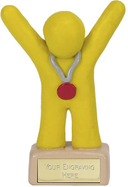 "Yellow Clay 3rd Place Medal Winner Trophy 10cm (4"")"