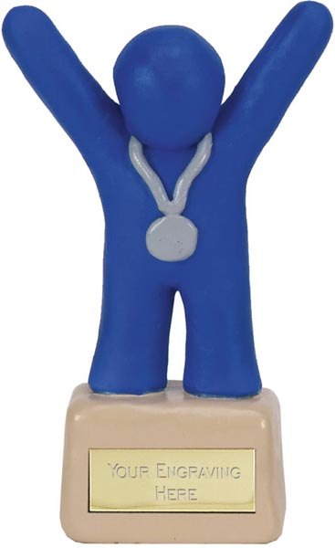 "Blue Clay 2nd Place Medal Winner Trophy 11cm (4.25"")"