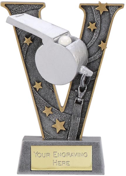 """Silver Resin Victory Whistle Football Trophy 15cm (6"""")"""