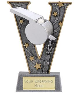 "Silver Resin Victory Whistle Football Trophy 15cm (6"")"