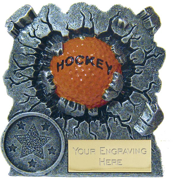 "Antique Silver Resin Smash Glacier Hockey Trophy 7.5cm (3"")"