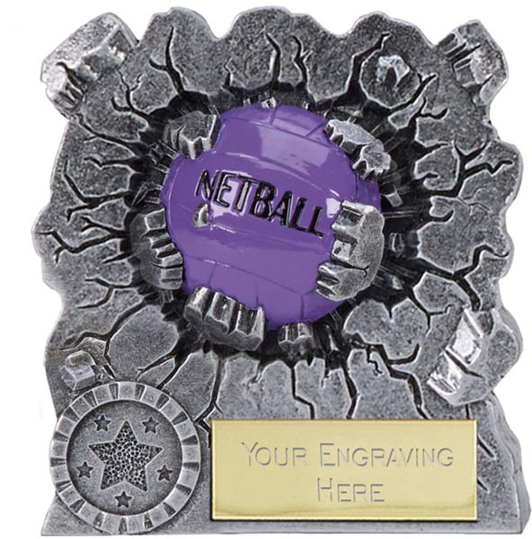 "Antique Silver Resin Smash Glacier Netball Trophy 12cm (4.75"")"