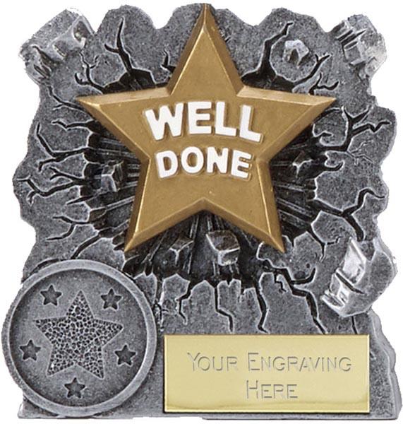 "Antique Silver Resin Smash Glacier Well Done Trophy 7.5cm (3"")"