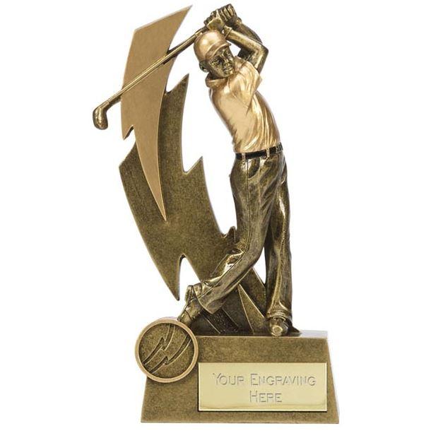"""Gold Resin Lightning Bolt Golfer in Action Golf Trophy 14.5cm (5.75"""")"""