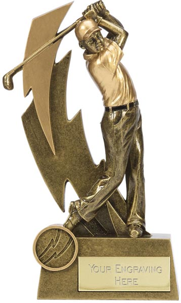 "Gold Resin Lightning Bolt Golfer in Action Golf Trophy 19.5cm (7.75"")"