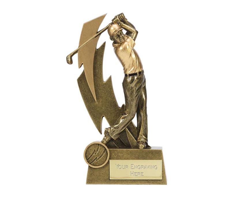 """Gold Resin Lightning Bolt Golfer in Action Golf Trophy 19.5cm (7.75"""")"""