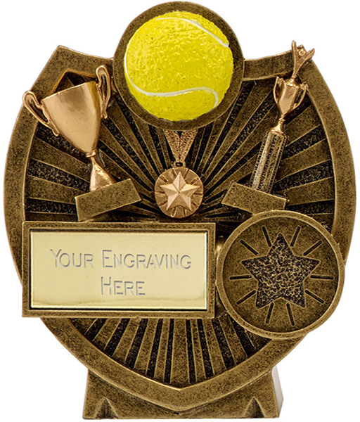 "Antique Gold Resin Century Shield Tennis Trophy 9cm (3.5"")"