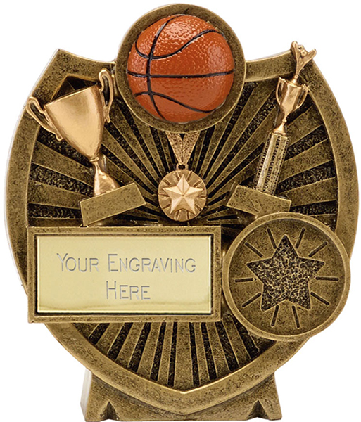 "Antique Gold Resin Century Shield Basketball Trophy 9cm (3.5"")"