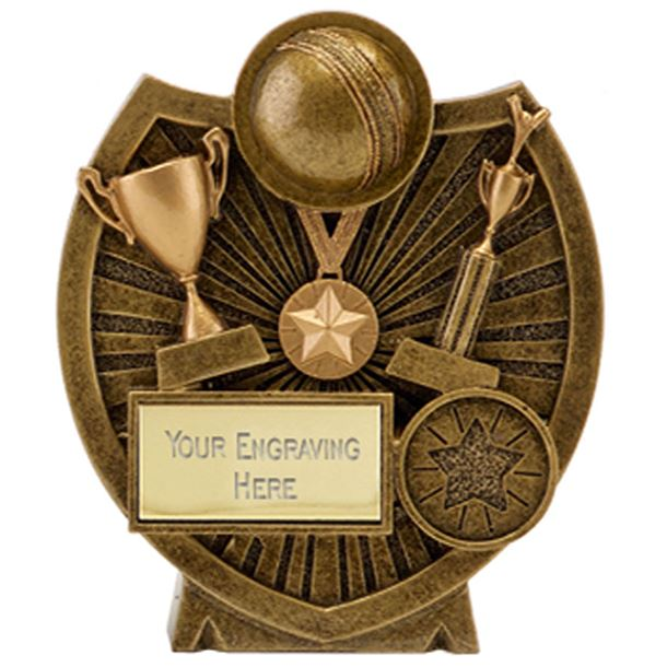 "Gold Resin Century Shield Cricket Trophy 9cm (3.5"")"